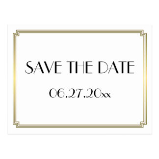 Art Deco Great Gatsby Gold Save The Date Postcard