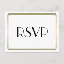 Art Deco Great Gatsby Gold Wedding RSVP Postcards