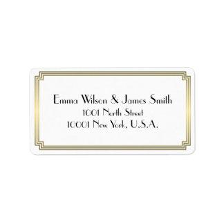 Art Deco Great Gatsby Gold White Address Labels