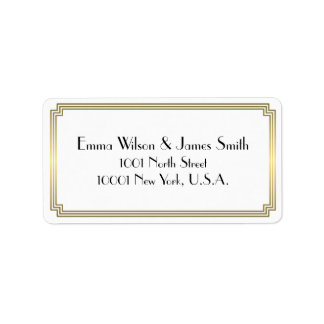Art Deco Great Gatsby Gold White Address Labels