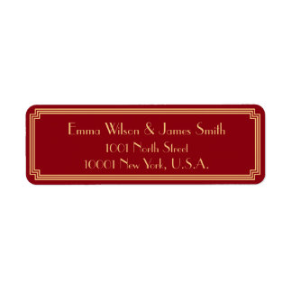Art Deco Great Gatsby Red Return Address Labels