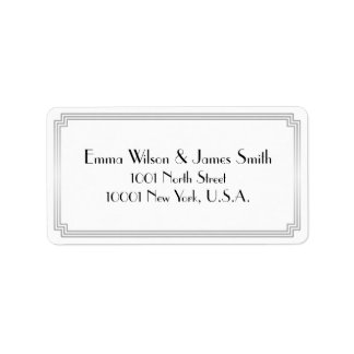 Art Deco Great Gatsby Silver White Address Labels