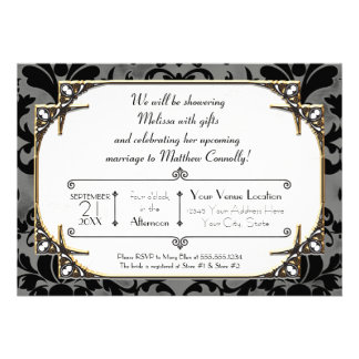 Art Deco Great Gatsby Style Typography n Lace Gold Invite