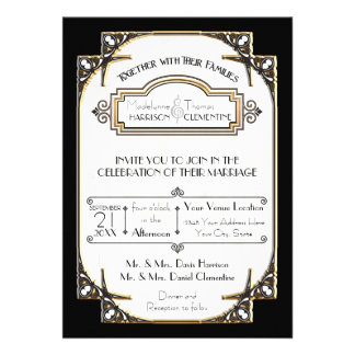Art Deco Great Gatsby Style Typography n Lace Gold Announcement