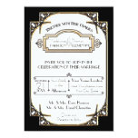 Art Deco Great Gatsby Style Typography n Lace Gold 5x7 Paper Invitation Card