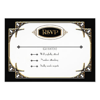 Art Deco Great Gatsby Style Typography n Lace Gold Custom Invite