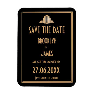 Art Deco Great Gatsby Wedding Save The Date Magnet
