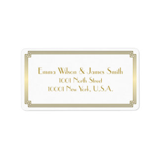 Art Deco Great Gatsby White Gold Address Labels