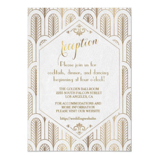 Art Deco Great Gatsby White Gold Reception Card