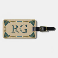 Art Deco Green and Gold Framed Monogram Luggage Tag