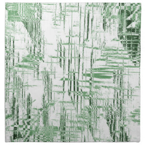 Art Deco Green and White Cloth Napkins