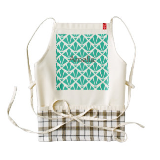 Art deco,green,white,nouveau,vintage,pattern,chic, zazzle HEART apron