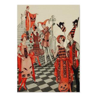 Art Deco Halloween Party Black Cat Owl Bat Card