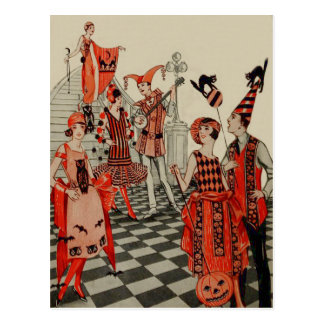 Art Deco Halloween Party Black Cat Owl Bat Postcard