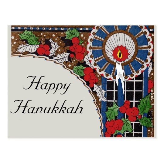 Art Deco Hanukkah Candle Postcard