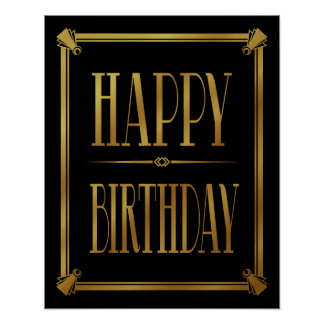 Art Deco Happy Birthday GATSBY print gold
