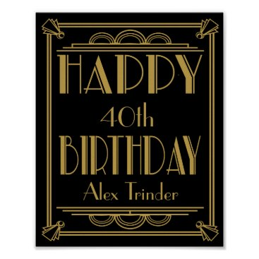 TheArtyApples ART Deco Happy Birthday Print Roaring 20's Party