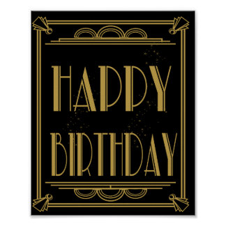 ART Deco Happy Birthday Print Roaring 20's Party