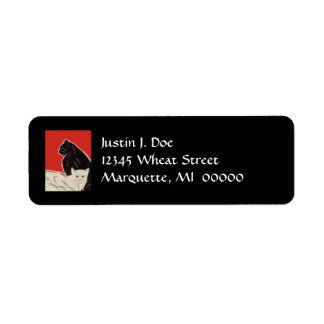 Art Deco High Style Pair Cats B& W Address Labels