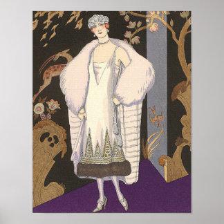 Art Deco Illustration Italian Coat and Dress Poster