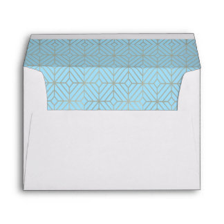 Art Deco in Blue Turquoise and gold Envelope