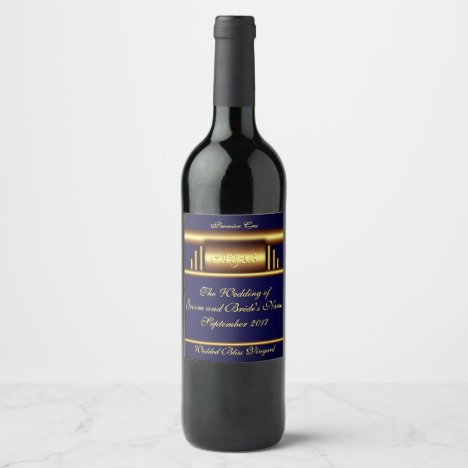 Art Deco in gold and navy blue Wine Label