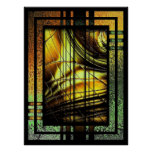 Art Deco In Green And Gold Poster