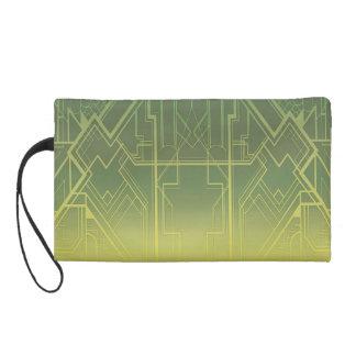 Art Deco in Greens Bagette Wristlet Purse