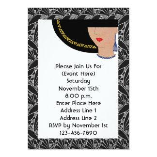 "Art Deco In Lady Hat Invitation 5"" X 7"" Invitation Card"