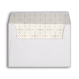 Art Deco in White and gold foil Envelope