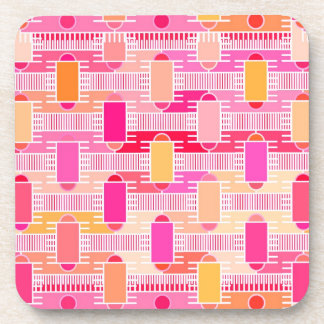 Art Deco industrial chic - pink, peach, gold Beverage Coaster