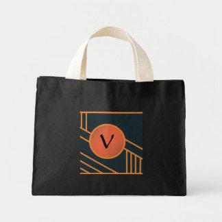 "Art Deco Initial ""V"" Tote Canvas Bags"