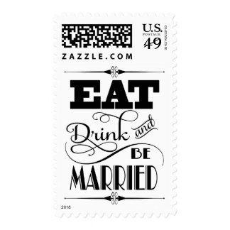 Art Deco Inspired Eat Drink And Be Married Design Postage Stamp