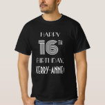 [ Thumbnail: Art Deco Inspired Style 16th Birthday Party Shirt ]