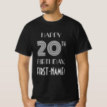 [ Thumbnail: Art Deco Inspired Style 20th Birthday Party Shirt ]