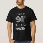 [ Thumbnail: Art Deco Inspired Style 91st Birthday Party Shirt ]