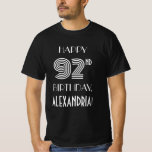 [ Thumbnail: Art Deco Inspired Style 92nd Birthday Party Shirt ]