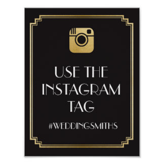 Art Deco Instagram Bar Sign Wedding Reception