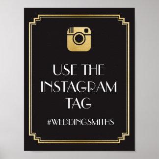 Art Deco Instagram Bar Sign Wedding Reception Poster