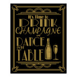 Art Deco Its time to drink champagne Poster
