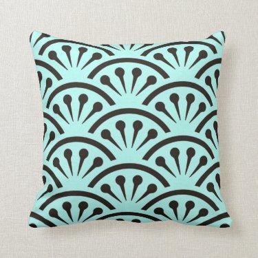 Art Deco Japan (Aqua + Black) Pillows