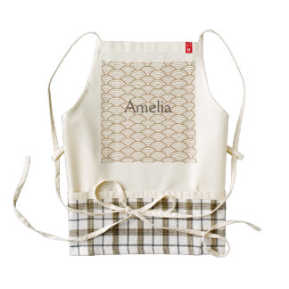 art deco,japanese fan pattern, gold,white,vintage, zazzle HEART apron