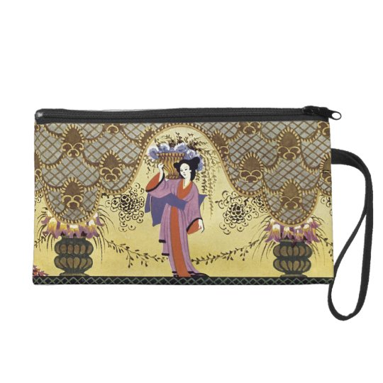 Art Deco Japanese Lady Wristlet Purse