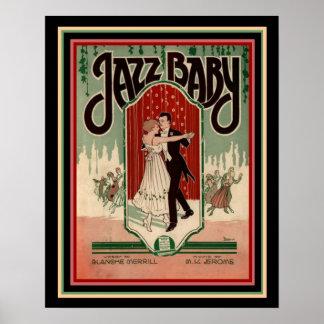 "Art Deco ""Jazz Baby "" Sheet Music Poster 16 x 20"