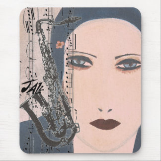 Art Deco Jazz Lady With Saxophone Mouse Pad