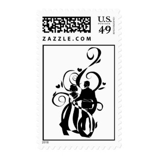Art Deco Just Wed Couple Stamps