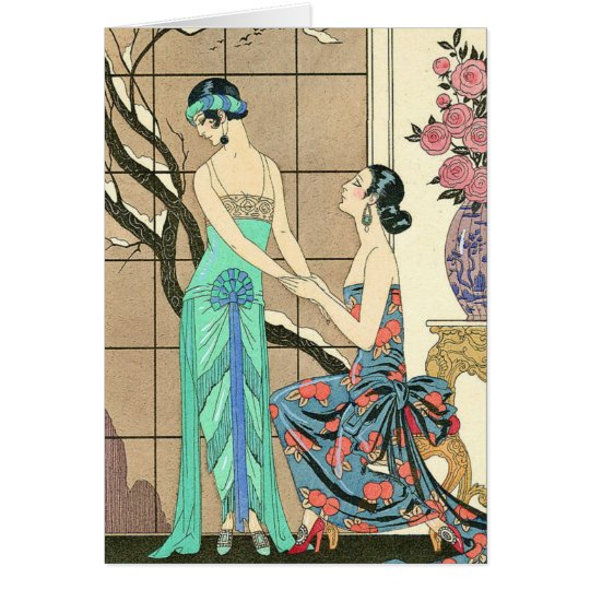 Art Deco Ladies By the Window Greeting Card