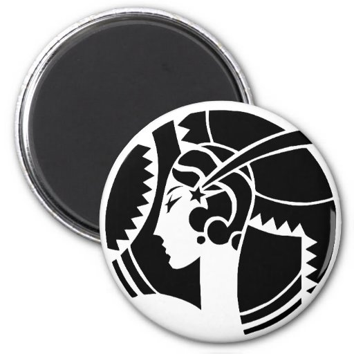 Art Deco Lady 2 Inch Round Magnet