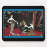 Art Deco Lady and Storks Mousepad