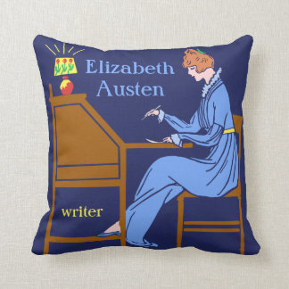 Art Deco Lady Author at Writing Desk in Blue Throw Pillows